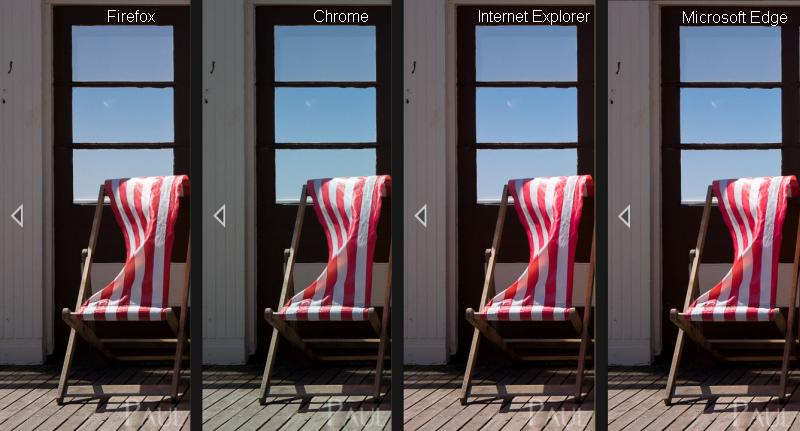 Web browser colour rendering comparison photography